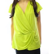 Laundry NEW Bright Green Women's Size Small S Faux-Wrap Draped Solid Blouse $59