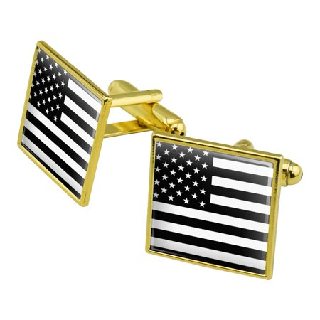 - Subdued American USA Flag Black White Military Tactical Square Cufflink Set Gold Color