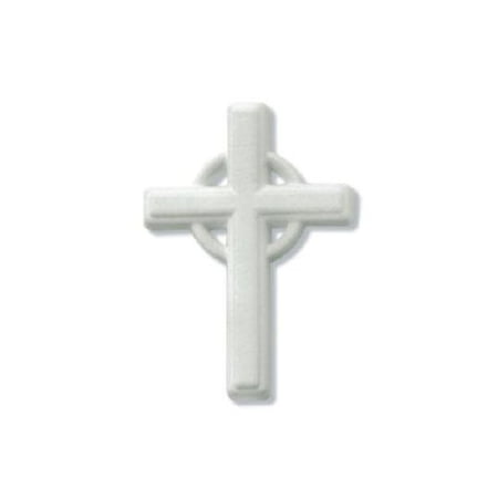 Large White Cross Edible Sugar Cupcake & Cake Decoration Topper- 1 count](Cross Cupcake Toppers)