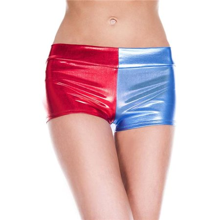 136-RED-BLUE Metallic Booty Shorts, Red & Blue - Metallic Booty Shorts