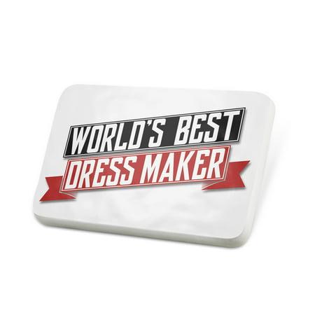 Porcelein Pin Worlds Best Dress Maker Lapel Badge –