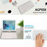 AGPtek Wireless Bluetooth Keyboard with Metal Holder for IOS Android & Windows System