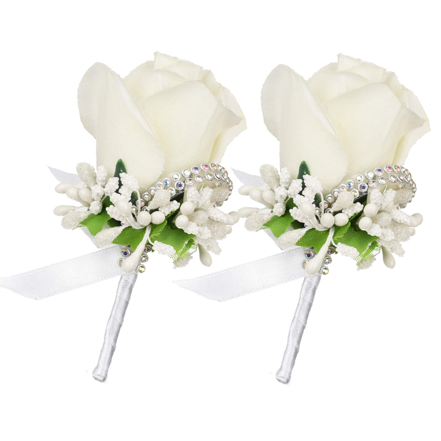 Coolmade 2Pcs Boutonniere Buttonholes Groom Groomsman Best Man Rose Wedding Flowers Accessories Prom Suit Decoration (Blue Rose)