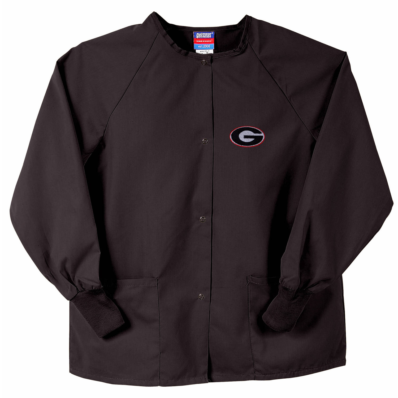 NCAA GelScrubs Black Nursing Jacket - University of Georgia Bulldogs