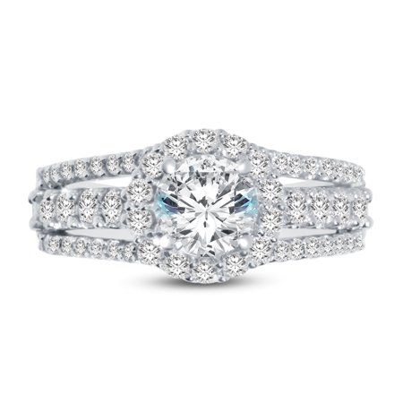 14k White Gold Round 3 Row Split Shank Floating Halo Solitaire Engagement Ring CZ Cubic Zirconia (2.50cttw., 1.0ct. Center) , Size 7