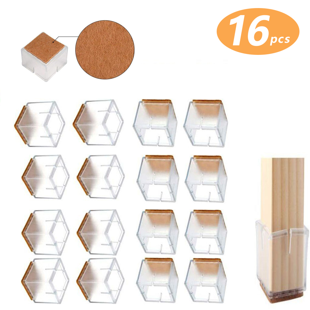 """Furniture Cups Chair Leg Floor Protectors Square, Silicone Chair Leg Caps,  Chair Tips to Prevent Scratches The Floors, Suitable for 100.100"""" to 100.10"""" (10"""