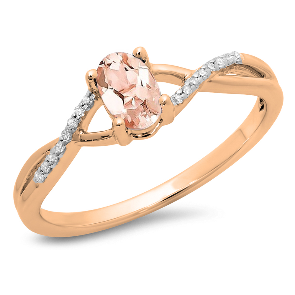 Dazzling Rock 0.50 Carat (ctw) 14K Rose Gold Oval Cut morganite & Round Cut White Diamond Ladies Bridal Swirl Split Shank Engagement P