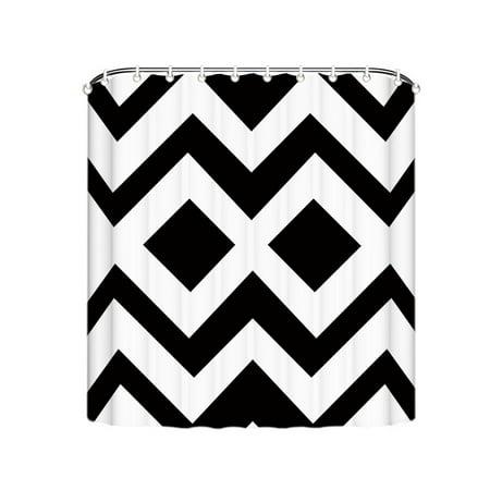Popeven White and Black Chevron Modern Design Shower Curtain For ...