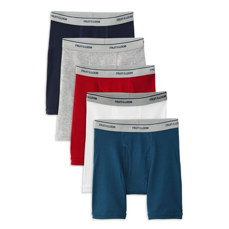 Fruit of the Loom Boys Tagfree Boxer Briefs, 5 Pack, Assorted Colors, (Fruit Of The Loom Trunk Boxer Briefs)