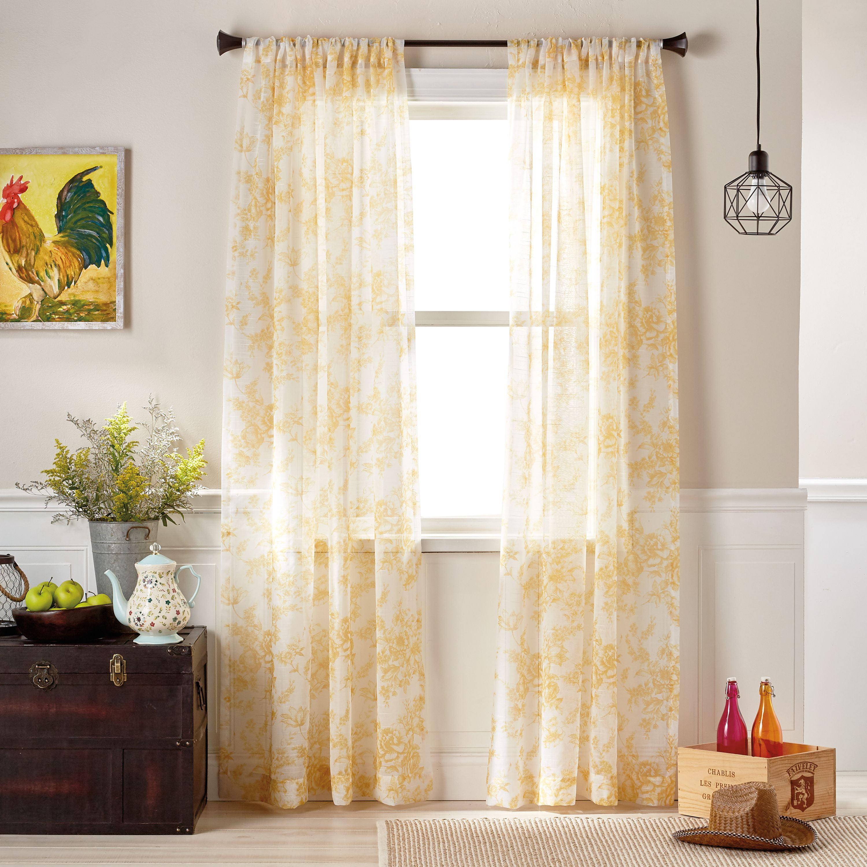 The Pioneer Woman Magnolia Mae Toile Pole Top Curtain Panel
