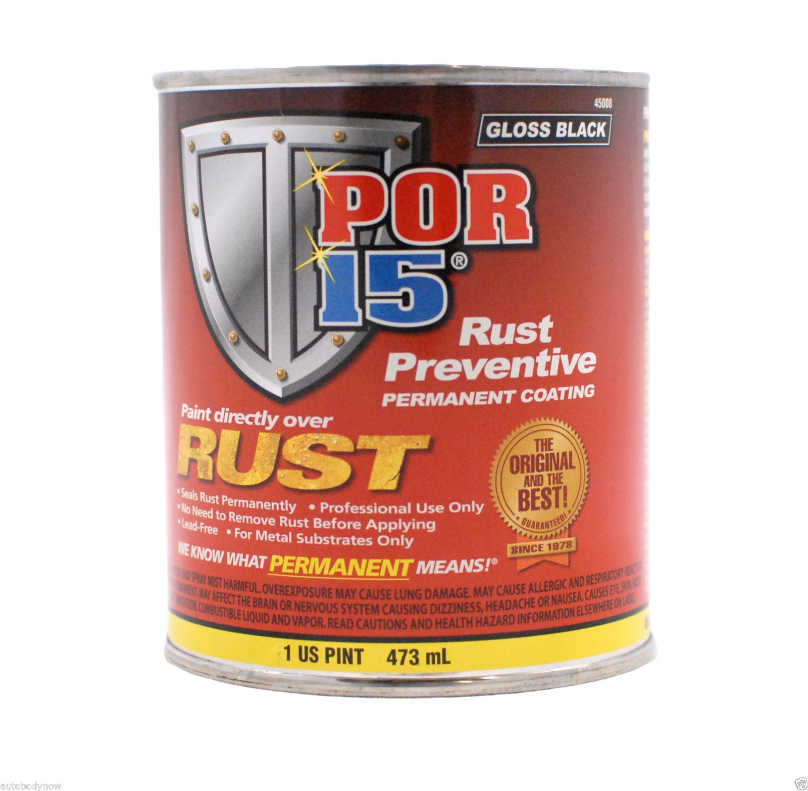 POR-15 45008 Gloss Black Rust Preventive Paint Coating Pint