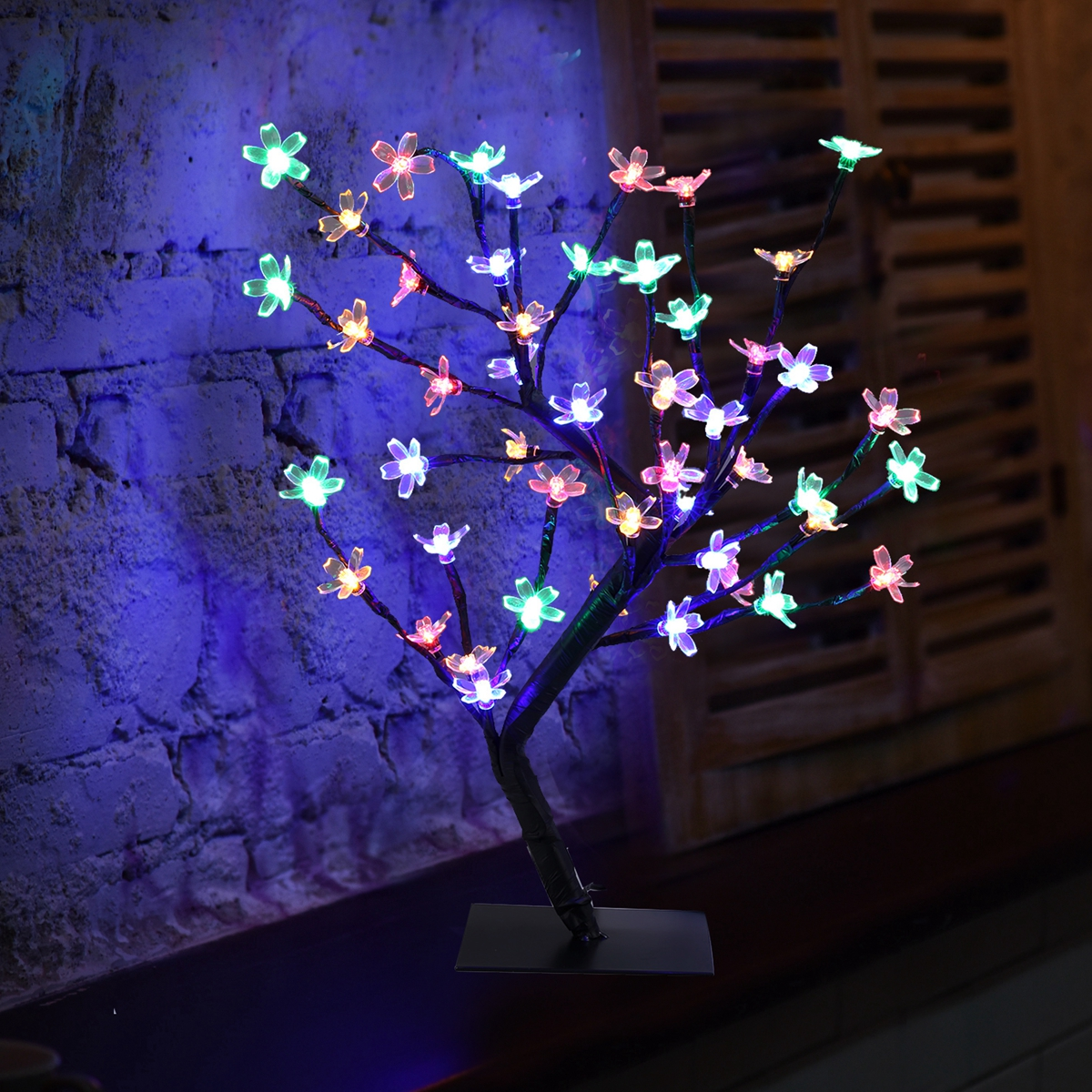 EXCELVAN 0.45M Xmas LED Decktop Twig Branch Floral Garden Multicolor Tree Cherry Blossom Light
