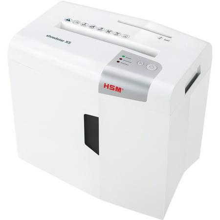 HSM Shredstar X5 Shredder - Continuous Shredder - Cross Cut - 5 Per Pass - for shredding Paper, CD, DVD, Credit Card, Staples - 0.19