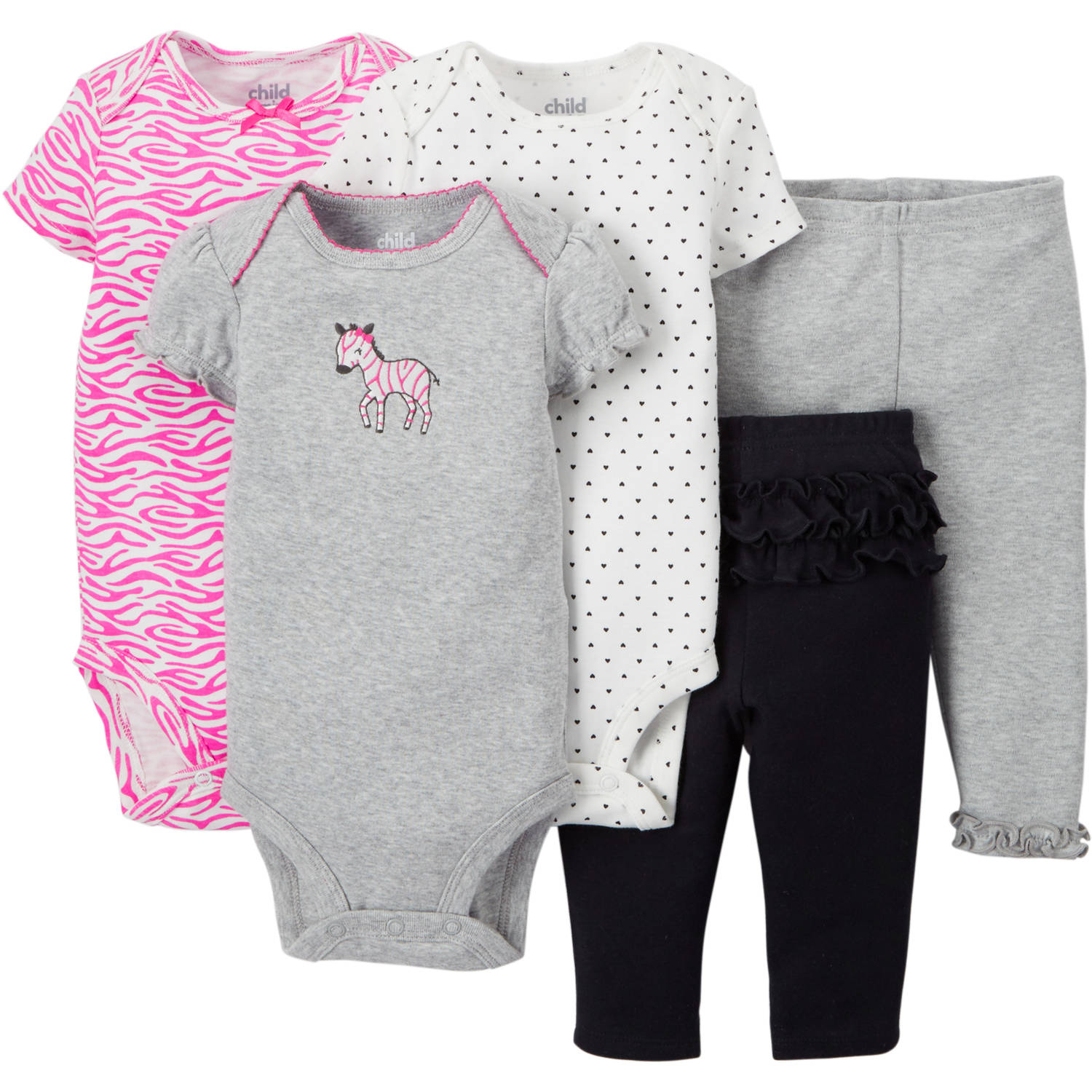 Child Of Mine By Carter's Newborn Baby Girl Bodysuit & Pant, 5 Pc Set