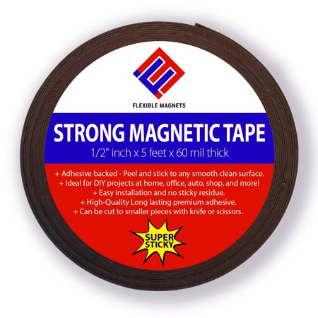 Flexible Magnetic Tape Roll with Adhesive Backing- Super Sticky! Superior Quality! By Flexible Magnets- 60mil x 0.5 in x 5ft