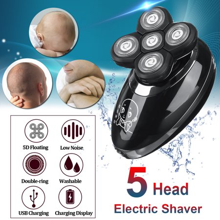 5 Head Shaver Beard Razor Cordless Hair Grooming Trimmer Clipper Waterproof Wet & Dry Shaver OR 1 PC Replacement Shaver Head
