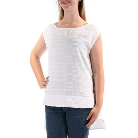 CALVIN KLEIN Womens White Geometric Sleeveless Jewel Neck Hi-Lo Top Size M