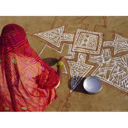 Woman Painting a Mandala Design on the Ground, Near Jodhpur, Rajasthan, India Print Wall Art By Bruno Morandi