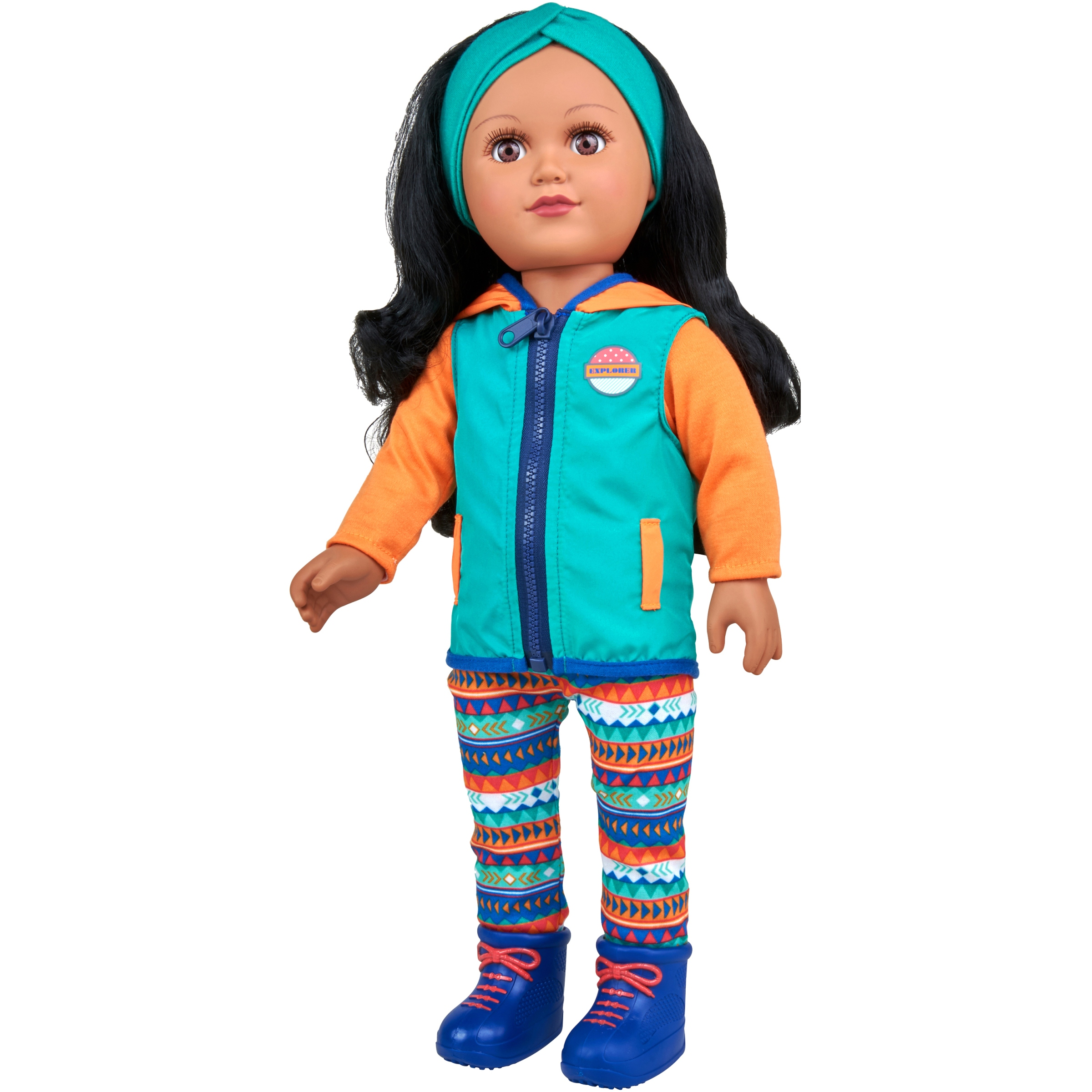 "My Life As 18"" Poseable Outdoorsy Girl Doll, Black Hair with a Soft Torso"