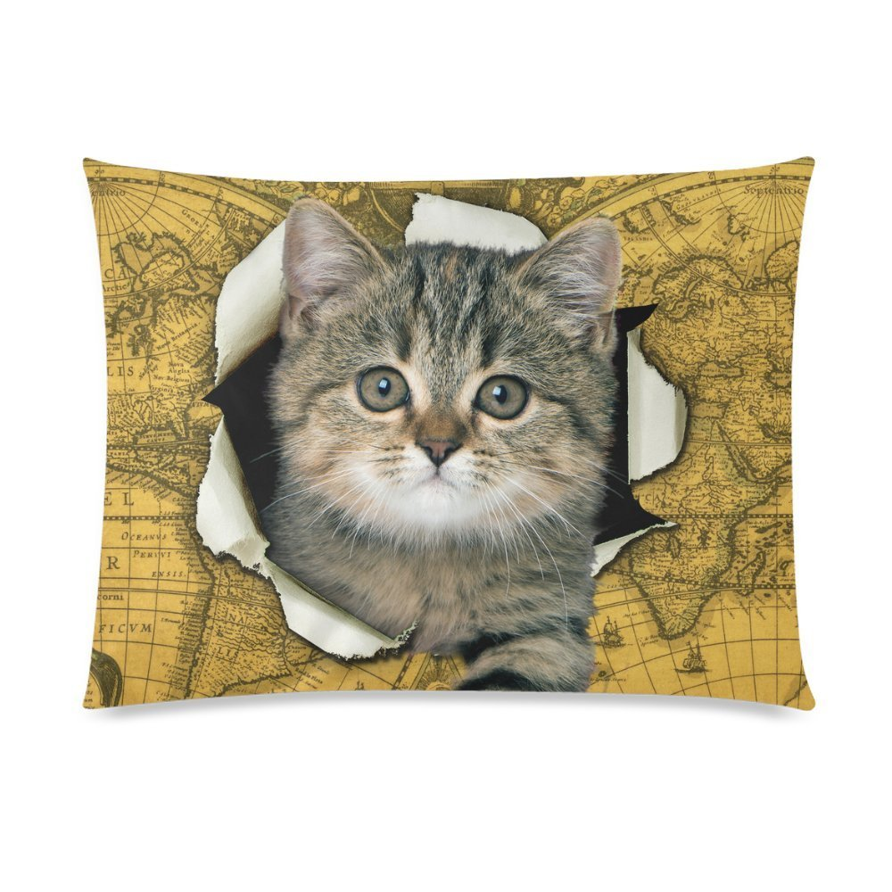 ZKGK Lovely Cat Yellow Vintage World Map Pillowcase Standard Size 20 x 30 Inches Two Side for Couch Bed,A Funny Cat Climb out of Vintage World Map Pillow Cases Cover Set Shams Decorative