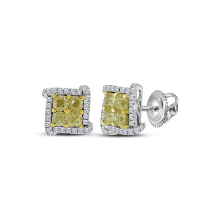 18kt White Gold Womens Round Yellow Color Enhanced Diamond Square Cluster Earrings 1-1/2 Cttw - image 1 of 1