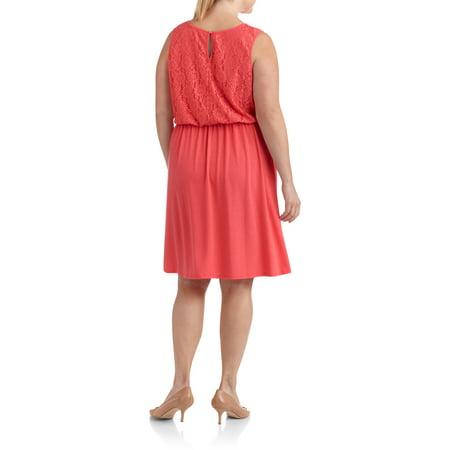 Plus Moda Women\'s Plus-Size Dress with Lace Shoulders