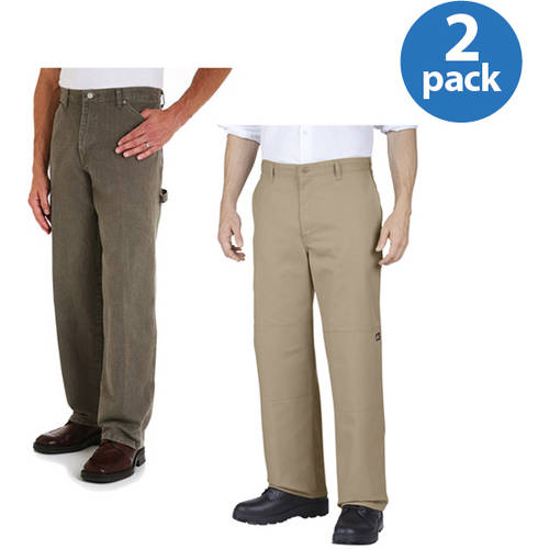 Genuine Dickies Big Men's Double-Knee Work Pants, 2 Pack Value Bundle