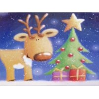Trimmery Bright Blue Reindeer Christmas Cards