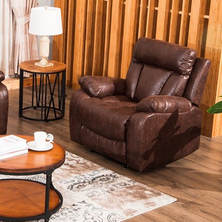 Topcobe Single Recliner Chair, Brown PU Leather Massage Recliner Motion Seating Sofa Chair for Living Room Home