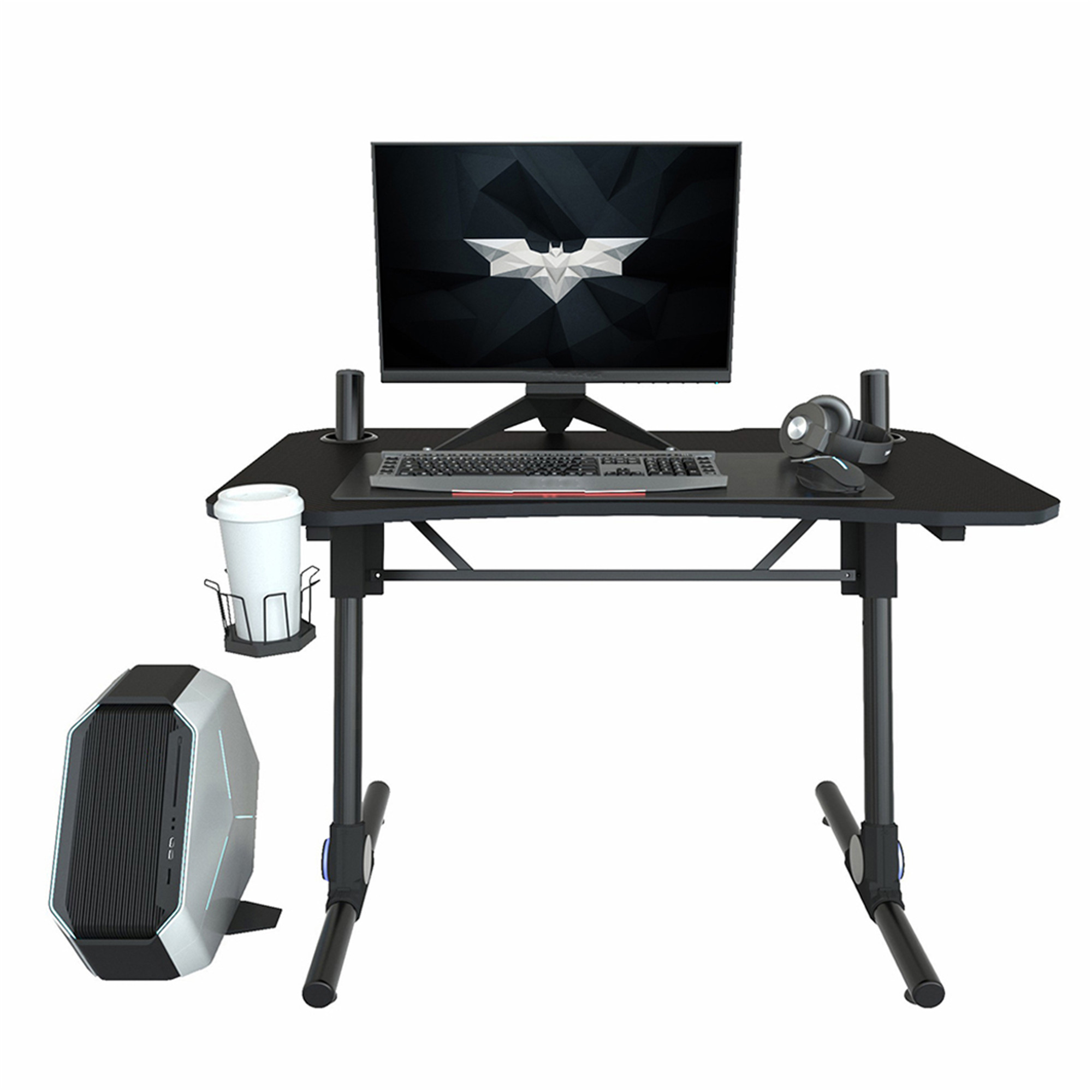Gaming Desk With Cup Holder Home Office Work Station Height Adjustable Computer Gaming Table Walmart Com Walmart Com