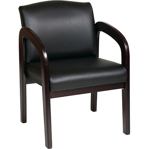 Office Star Leather High Back Chair With Cherry Wood Finish Black