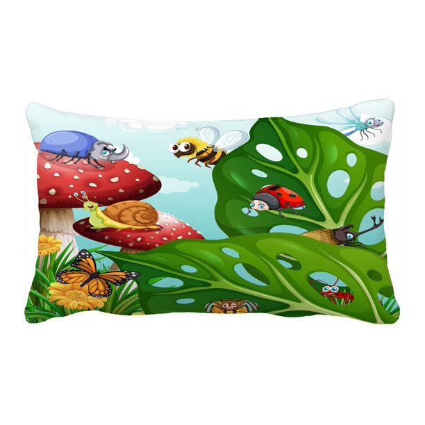 Abphqto Insects Flying In The Garden Pillow Case Pillow Cover Pillow Protector Two Sides For Couch Bed 20x30 Inch Walmart Com Walmart Com