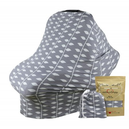 Baby Car Seat & Nursing Cover & Drawstring Carry Bag in Gray Ivy Design Shower Gift Breathable Stretchy Universal 4 in 1 Multi-Use Infant Carseat Canopy Covers Shopping Cart High Chair Stroller