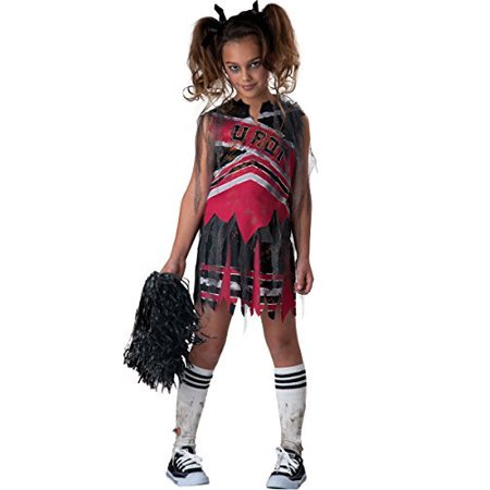 Spiritless Cheerleader Child Costume - Medium, This zombie cheerleader costume includes a top, skirt with detachable mesh, scarf & pom-pom. By InCharacter - Zombie Cheerleader Costume Kids