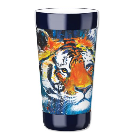 Mugzie 16-Ounce Tumbler Drink Cup with Removable Insulated Wetsuit Cover - Tiger