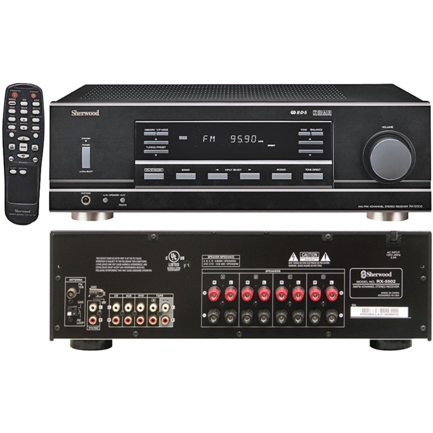 Sherwood RX5502 100 Watt x 4 RMS Dual-Zone Stereo Receiver (Black) by