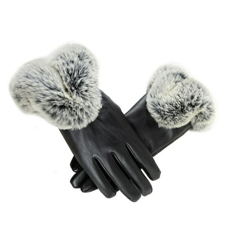 Womens Ladies Faux Leather Five Finger Gloves Winter Warmer Wrist Mitten (Striped Wrist Warmers)