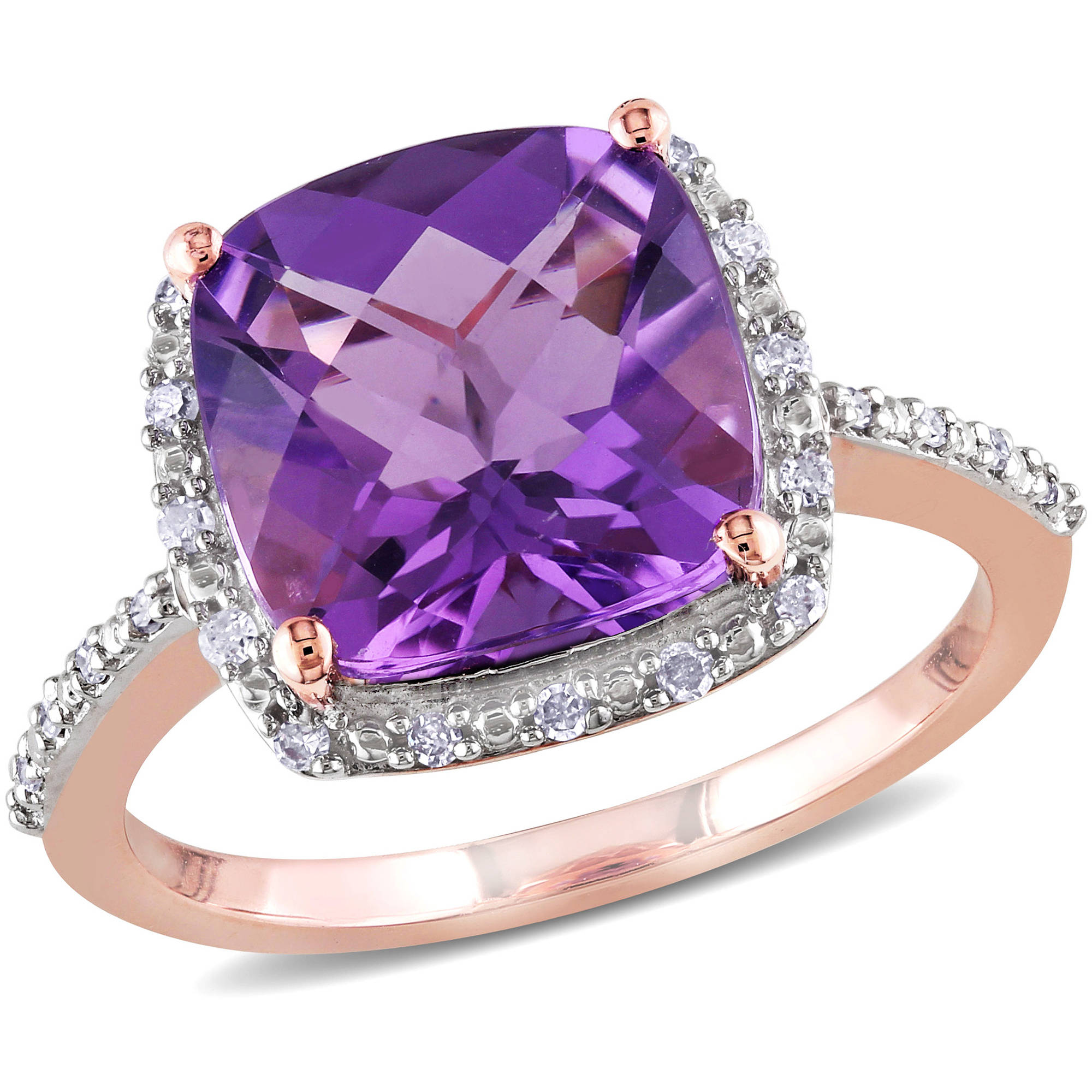 3-1 2 Carat T.G.W. Amethyst and Diamond-Accent 10kt Pink Gold Halo Ring by Amethyst Pins