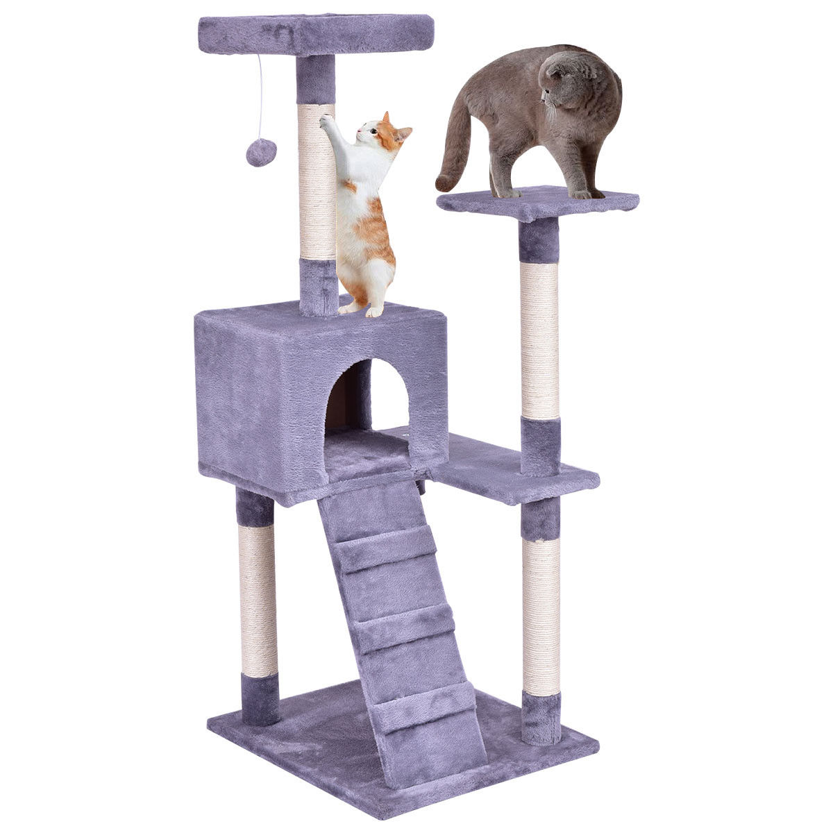 Gymax Gray 52'' Cat Tree Tower Condo Furniture Scratching Post Kitty Play House Ladder