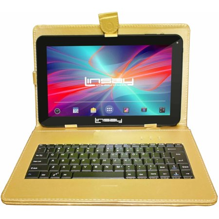 "LINSAY 10.1"" Tablet Quad Core 16 GB Bundle Deluxe with Golden Keyboard Android 6.0"