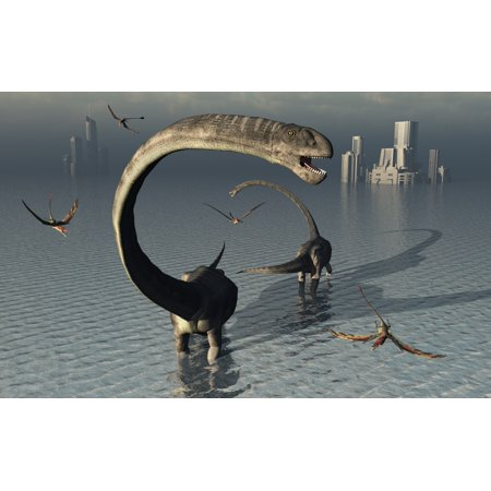Omeisaurus Sauropod Dinosaurs Cooling Off In The Jurassic Waters Of What Is Now China Canvas Art   Mark Stevensonstocktrek Images  18 X 12