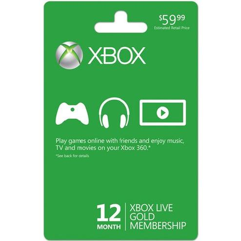 Microsoft XBOX 12 Live Gold Membership for XBOX 360/ONE (Physical Card)