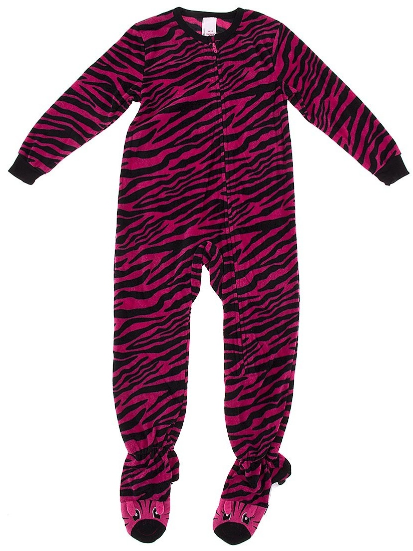 Dark Pink Zebra Footed Pajamas for Girls XS/4-5