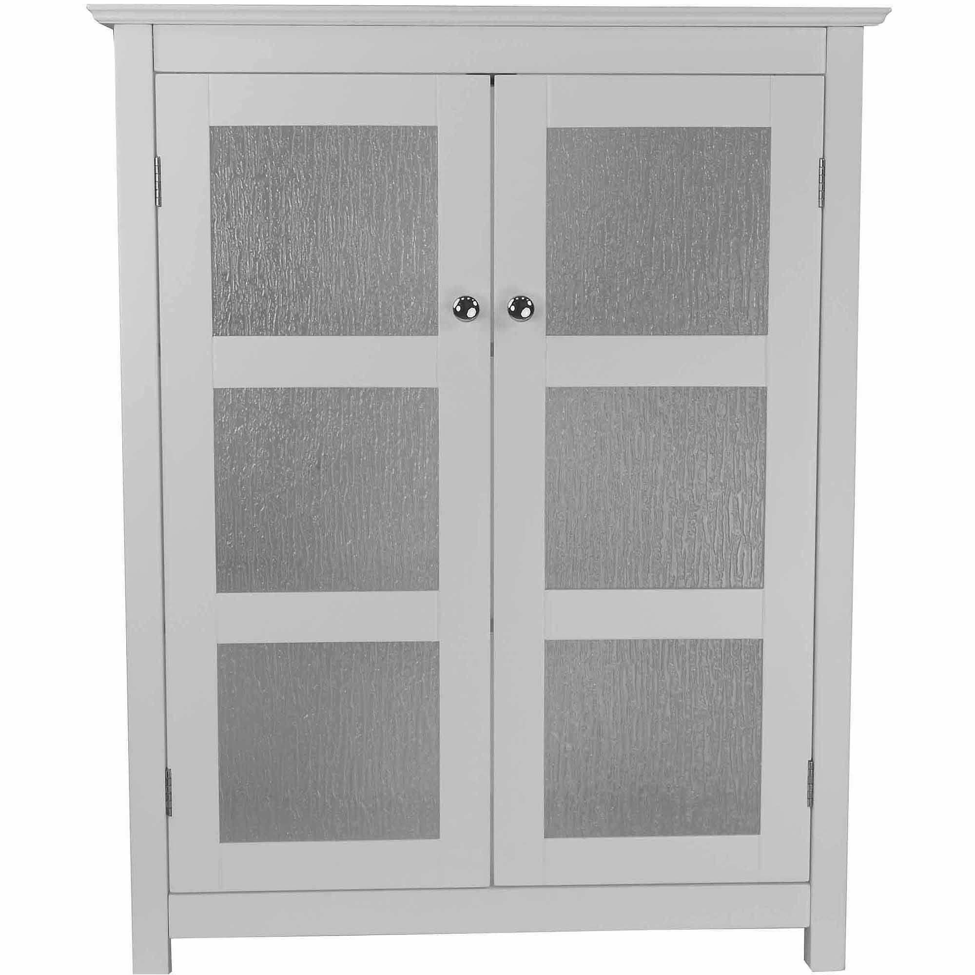 Connor Floor Cabinet With 2 Glass Doors, White   Walmart.com