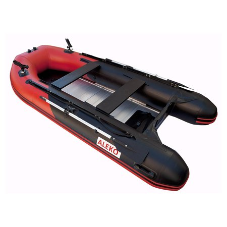 ALEKO PRO Fishing Inflatable Boat with Aluminum Floor - Front Board Holders - 10.5 ft - Red and Black ()