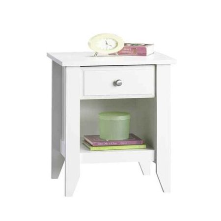 1 drawer nightstand with open shelf in white finish. Black Bedroom Furniture Sets. Home Design Ideas