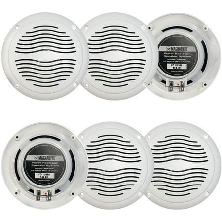"3 Pairs Of Magnadyne WR40W 5"" Inch Waterproof Marine Boat & Hot Tub Dual Cone Audio Stereo Speakers - White"