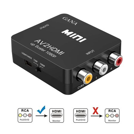 Professional Composite Video - RCA to HDMI, Coolmade 1080P Mini RCA Composite CVBS AV to HDMI Video Audio Converter Adapter Supporting PAL/NTSC with USB Charge Cable for PC Laptop Xbox PS4 PS3 TV STB VHS VCR Camera DVD