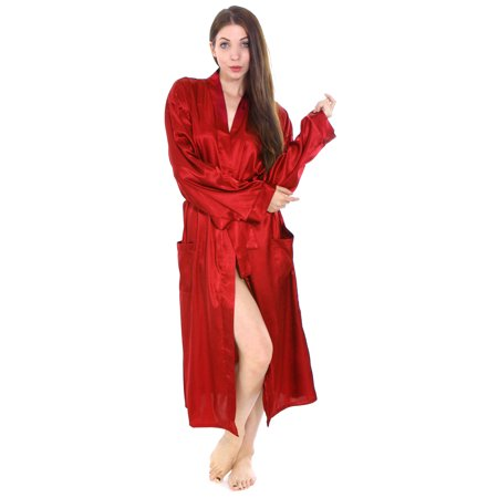 f6cd902c5ad5 Simplicity - Simplicity Long Satin Kimono Robe Sleepwear Bathrobes for Women  Men