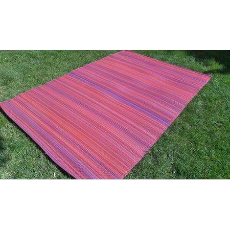 Santa Barbara Outdoor Reversible Pink Red Purple Stripes Area